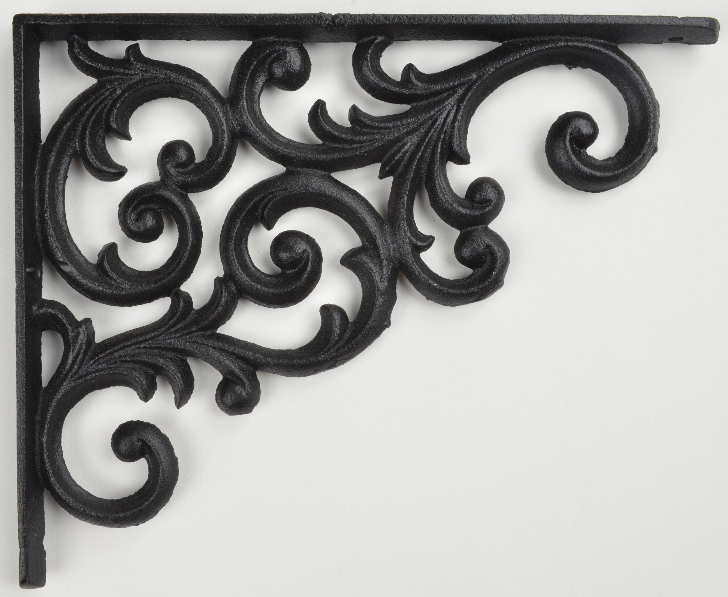 Shelf Bracket Black Cast Iron Ornate Vine Pattern 9.375'' Deep Brace