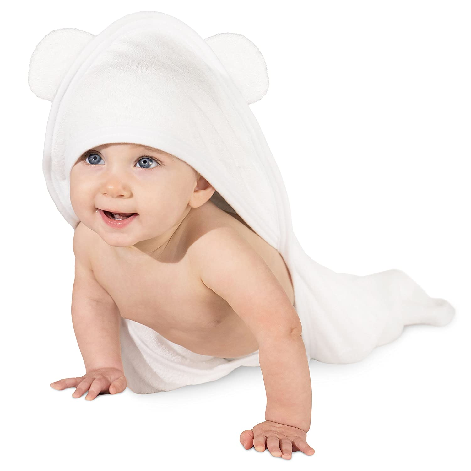 Bamboo Hooded Baby Towel: Ultra Soft Hypoallergenic Infant Boy & Girl Bath Towel LullaBaby