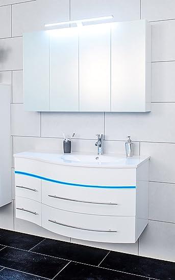 SAM® Badmöbel-Set 2-tlg, Hochglanz weiß, LED-Beleuchtung blau ...