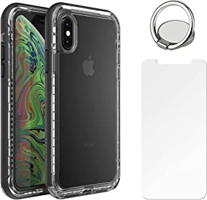 LifeProof Next Series Case for iPhone Xs & iPhone X with Tempered Glass Screen Protector, Includes Phone Ring Finger Holder - Non-Retail Packaging - Black Crystal