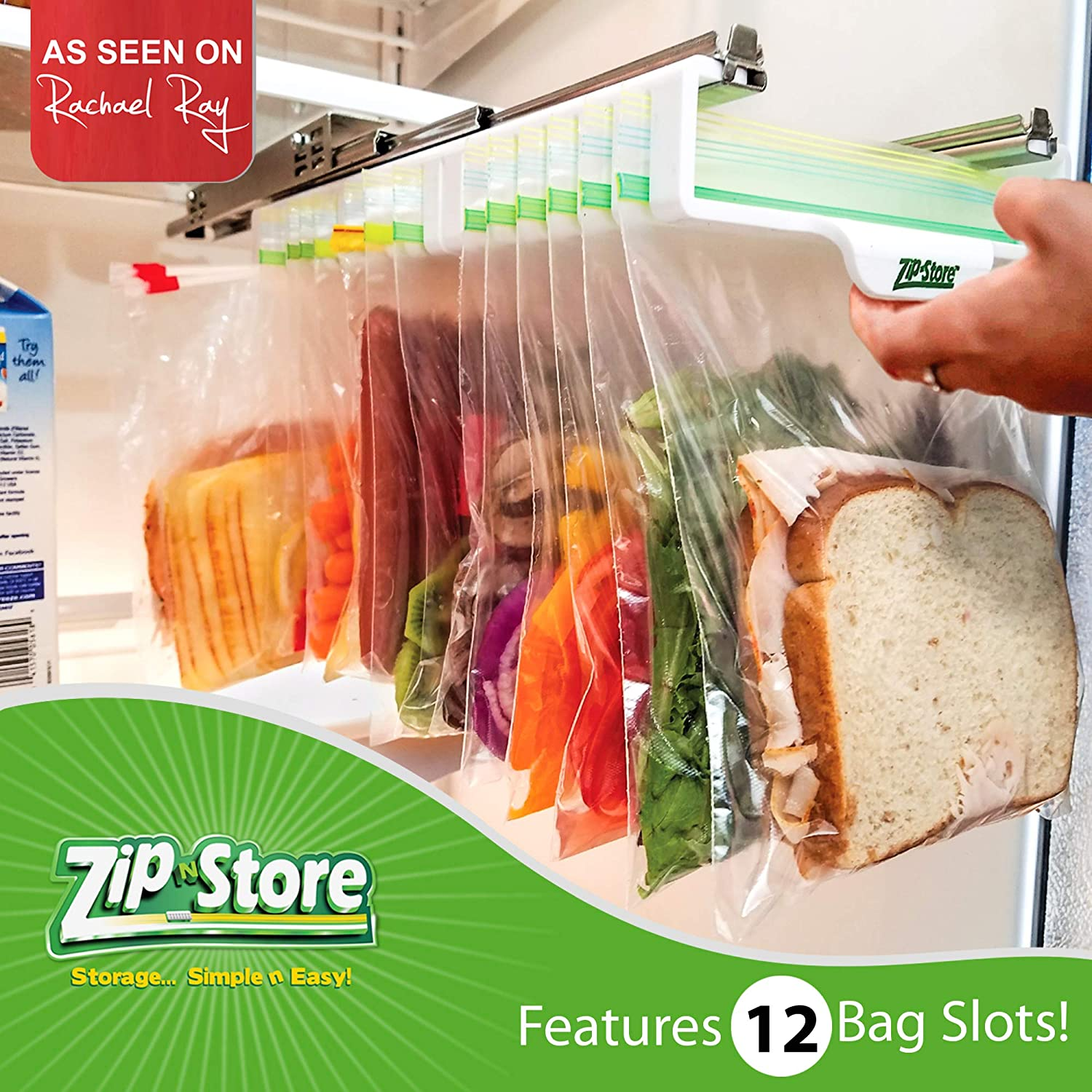 Zip n Store - Organize Your Refrigerator - Mid-Size Easy Store Organizer - Organizes 12 Bags, Perfect For Leftovers, Easy To See + Access Food, Quick Access Slide Track, Installs In 2 Minutes