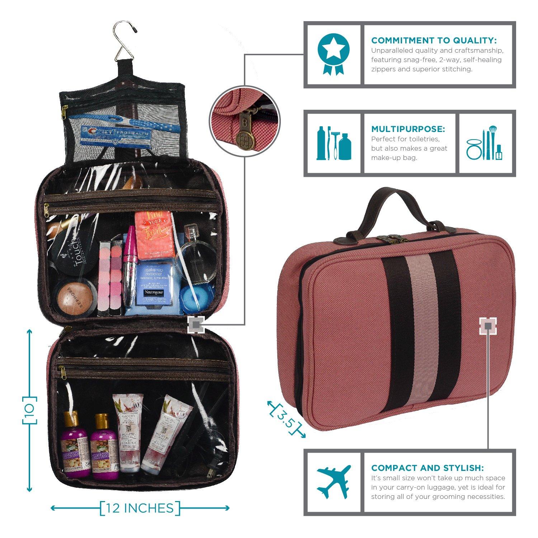 Bellemonde Hanging Toiletry Bag Travel Kit for Men and Women | Washable, Stain-resistant | Timeless Design Toiletry Organizer, Makeup Bag, Cosmetic Bag | Packs Flat 12'' x 10'' x 3.5'' | BL178PB Blue by Bellemonde (Image #7)