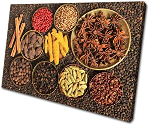Bold Bloc Design - Food Kitchen Indian Spices - 135x90cm Canvas Art Print Box Framed Picture Wall Hanging - Hand Made in The UK - Framed and Ready to Hang