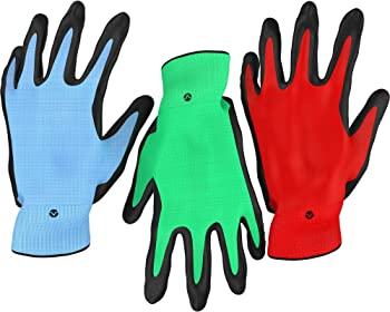 3-Pack Vremi Bamboo Nitrile Coated Heavy Duty Gardening Gloves