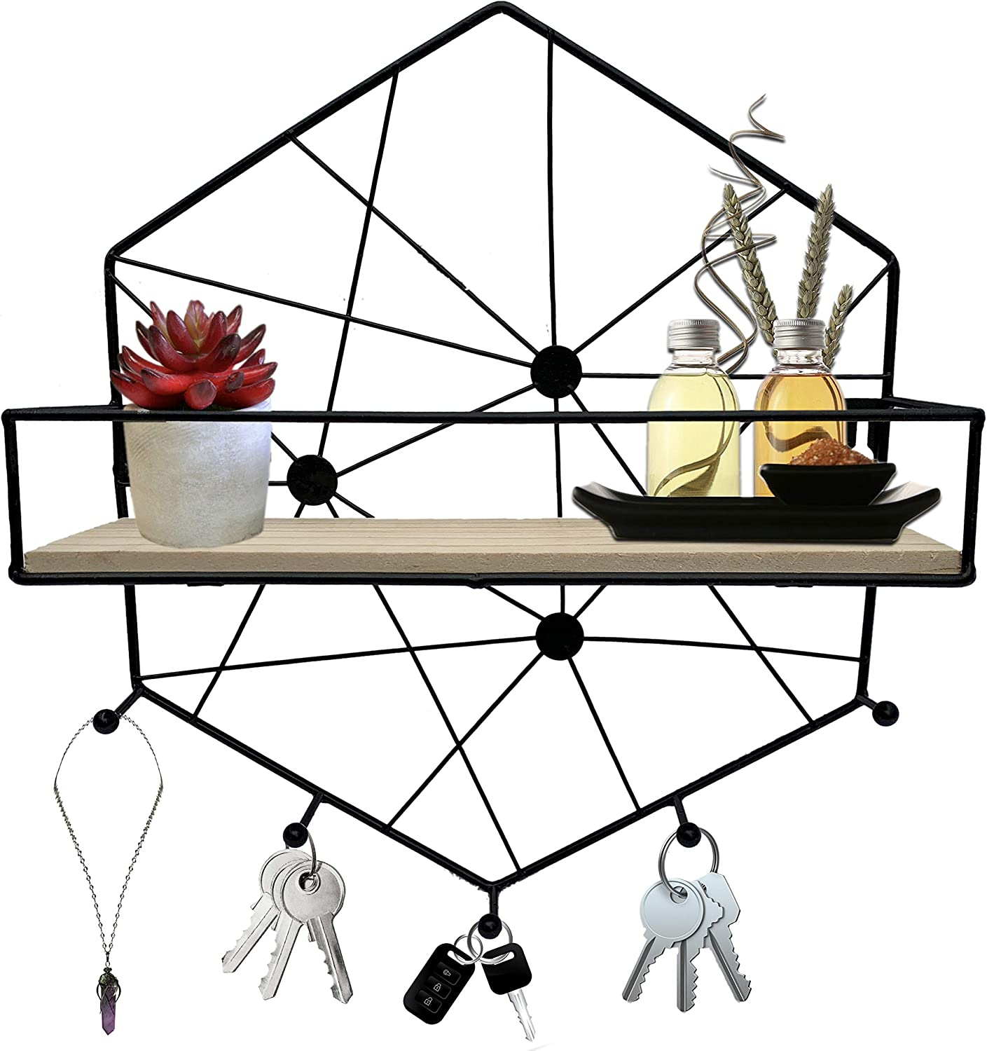 Hexagon Shelf Creating Aesthetic Room Décor, Key Holder for Wall with Shelf Or Necklace Holder Wall Mount, This Black Floating Shelf is Perfect Teen Room Decor Aesthetic Pleasure Honeycomb Shelves