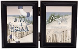 Cottage Garden Live Life Oceanside Midnight Black 5 x 7 Wood Hinged Double Tabletop Photo Frame