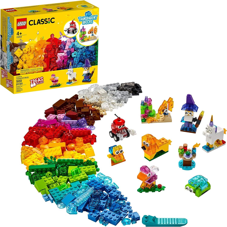 LEGO Classic Creative Transparent Bricks 11013 Building Kit with Transparent Bricks; Inspires Imaginative Play, New 2021 (500 Pieces)