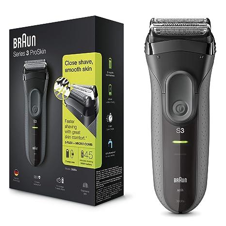 Braun Series 3 ProSkin 3000s - Afeitadora eléctrica inalámbrica y recargable para hombre, negro