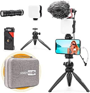USKEYVISION Smartphone Vlog Microphone Light Kit/Video Kit/Blogger Kit for iPhone, Smartphone and Cameras, with Tripod+Ball Head+Phone Clip+Microphone+Video Light, for Video, Live Steam (Vlog K2)