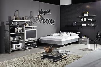 Stylisches Jugendzimmer jugendzimmer mit bett 140 x 200 cm industrial print optik graphit