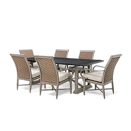 Amazoncom Blue Oak Outdoor Saylor Patio Furniture Piece Dining - Stone top rectangular dining table