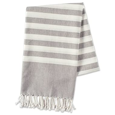 E-Living Store FBA43918 100% Cotton, Soft & Absorbent Decorative Turkish Fouta Towel Twisted Fringe Home, Beach, Pool Décor, Use As Blanket Throw, 28x59, Gray