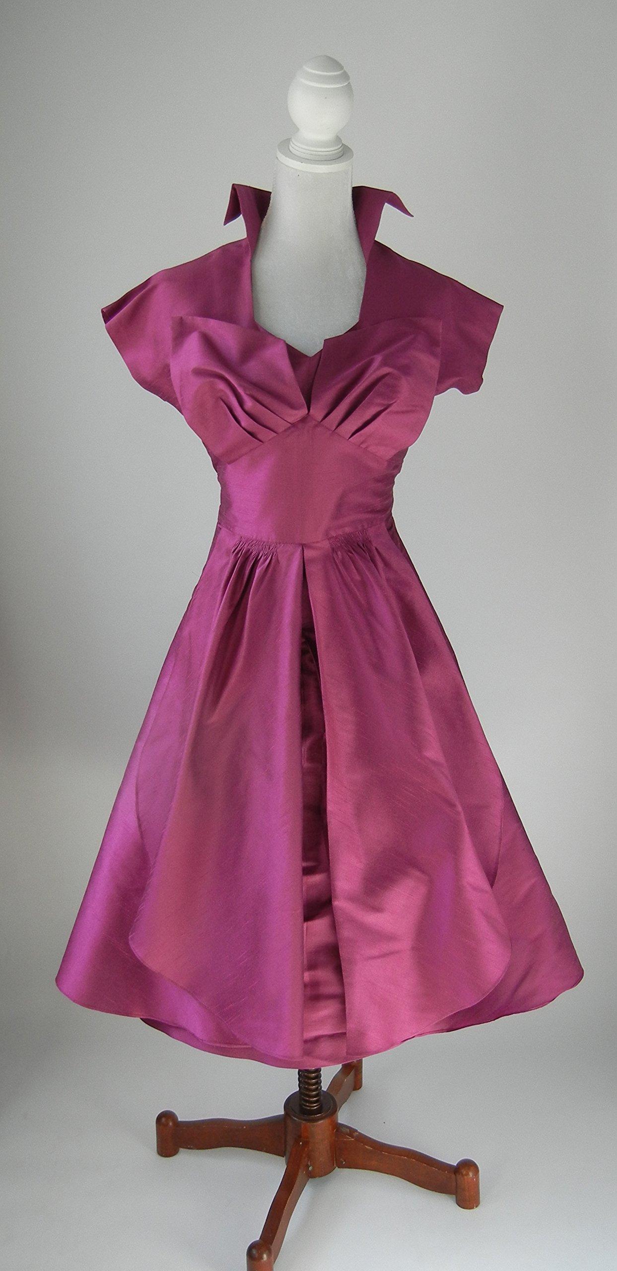 1950s Vintage Style Pin Up Rockabilly Silk Dress