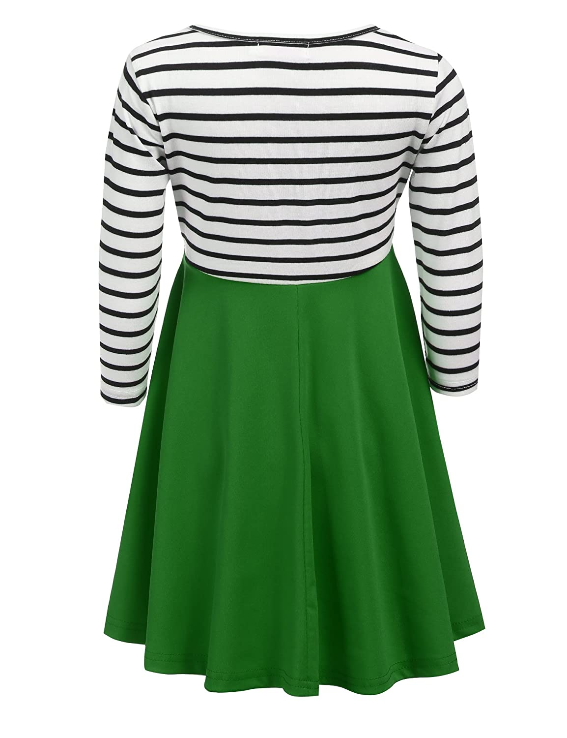 Amazon.com: Arshiner Kids Girls Long Sleeve A-line Striped/Froal ...