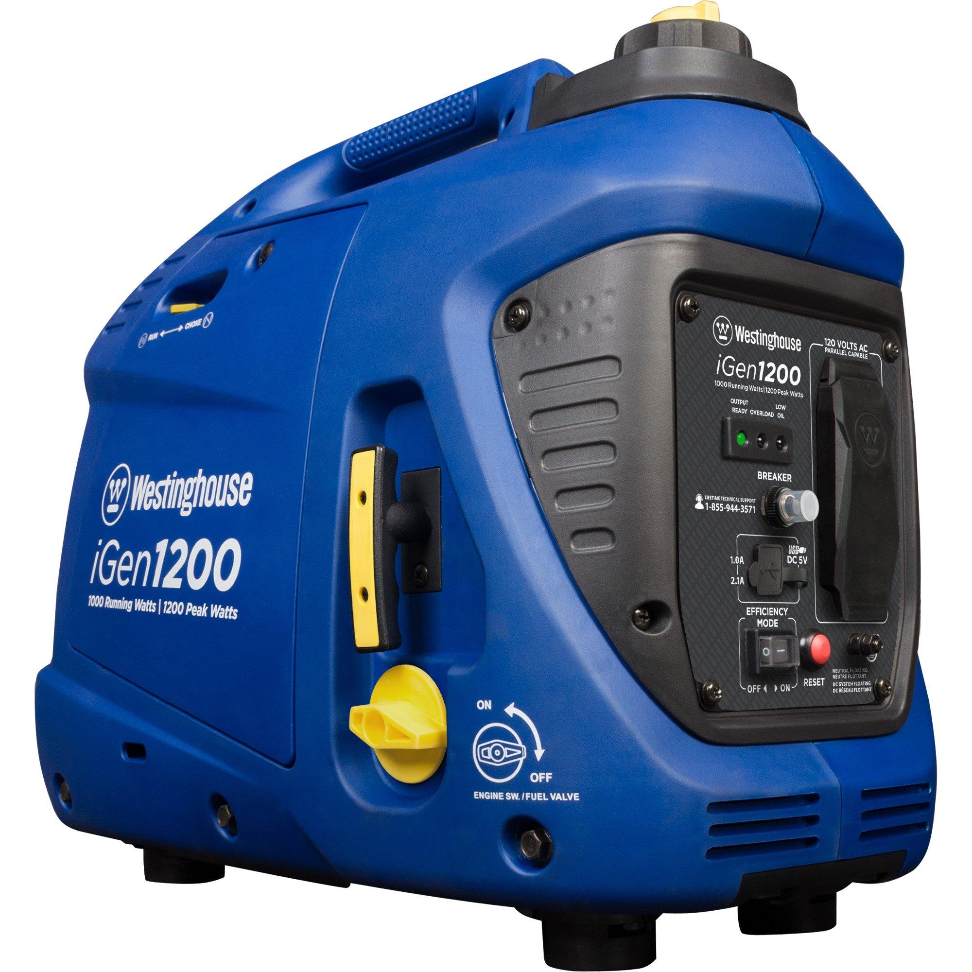Westinghouse iGen1200 Portable Inverter Generator - 1000 Rated Watts & 1200 Peak Watts - Gas Powered