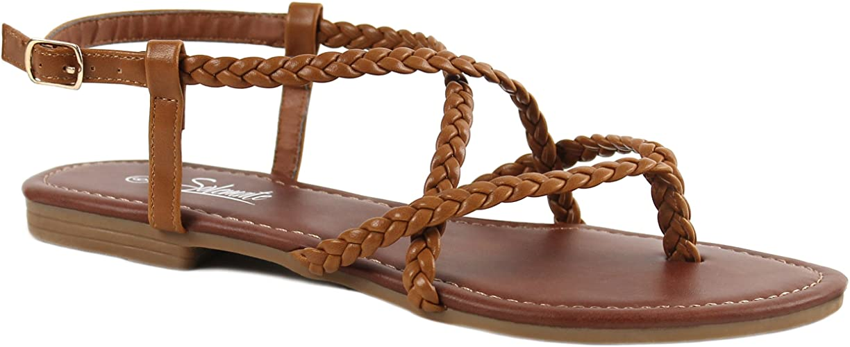 Womens Strappy T Strap Gladiator Thongs Sandals Black White Tan