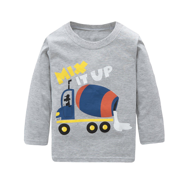 HowJoJo Big Boys Long Sleeve Cotton T-Shirts Mixer Truck Shirt Cartoon Graphic Tees Grey 7T by HowJoJo