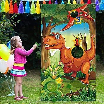 Materiales de Fiesta de Dinosaurio Decoraciones de Cumpleaños Juego de Lanzamiento con 3 Bolsas de Frijoles de Nylon Verdes para Adolescentes Favores ...