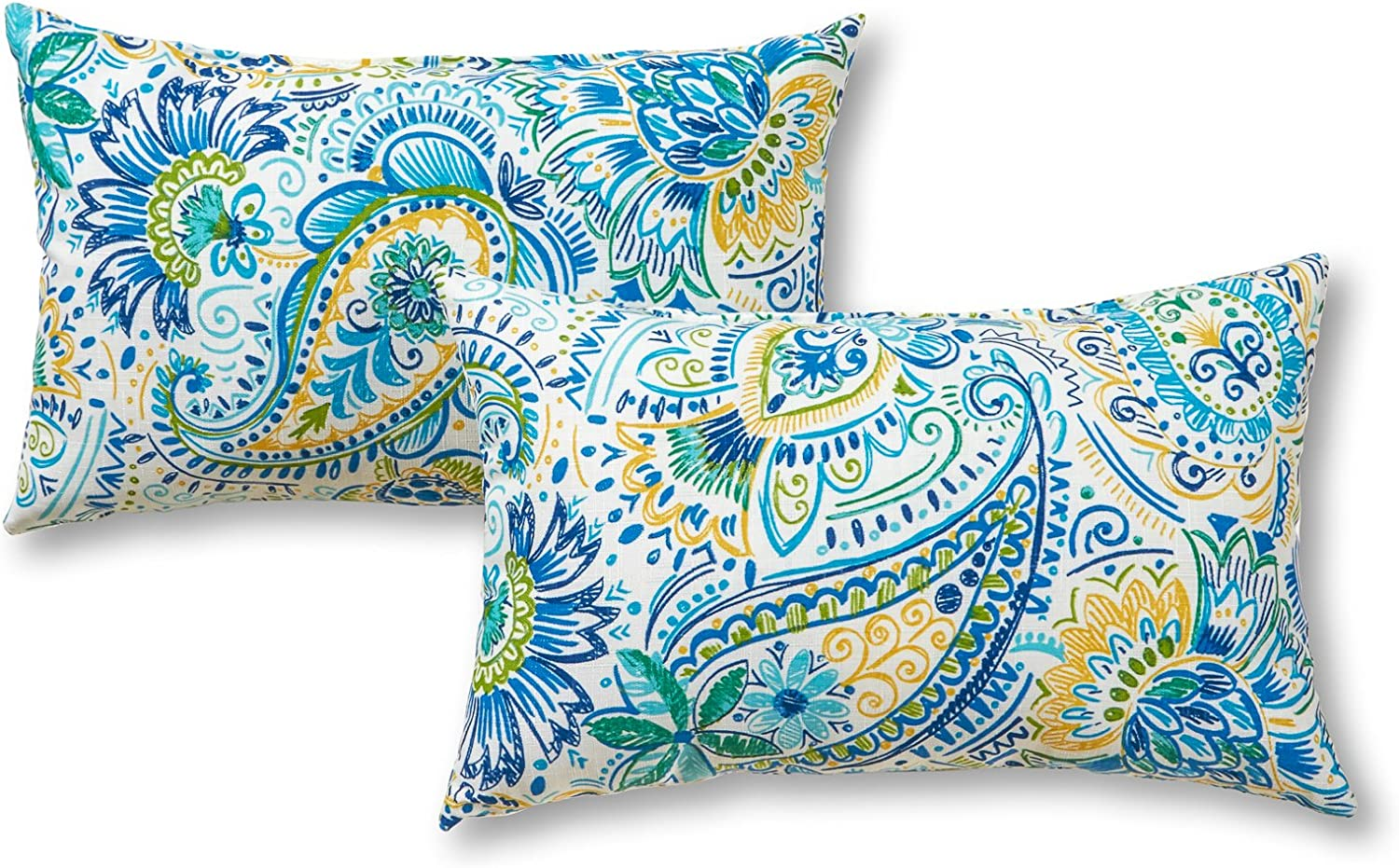 Greendale Home Fashions AZ5811S2-BALTIC Paisley Outdoor Rectangle Throw Pillow (Set of 2)