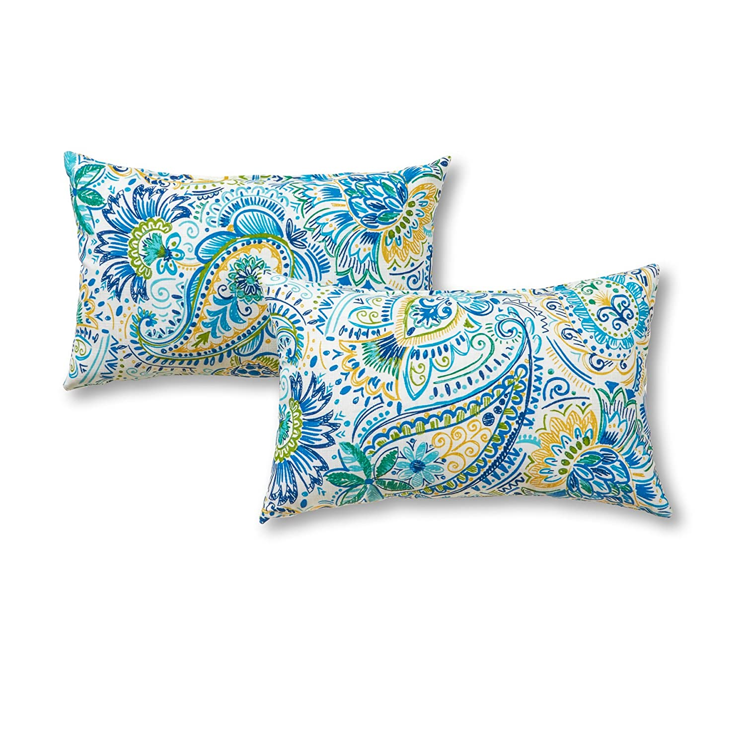 Greendale Home Fashions Rectangle Outdoor Accent Pillows in Painted Paisley Set of 2 , Baltic