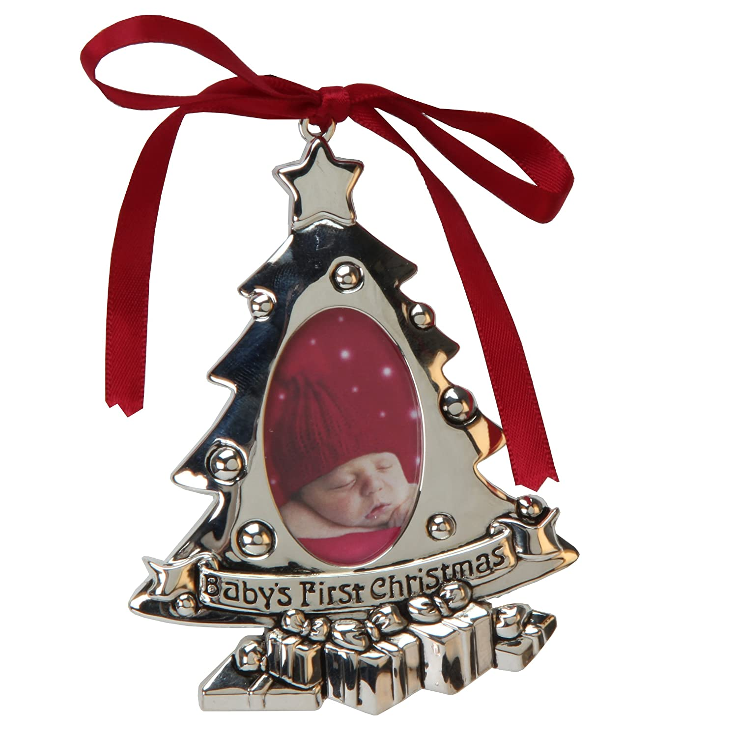Baby's First Christmas Tree Silver Plated Photo Frame Ornament ...