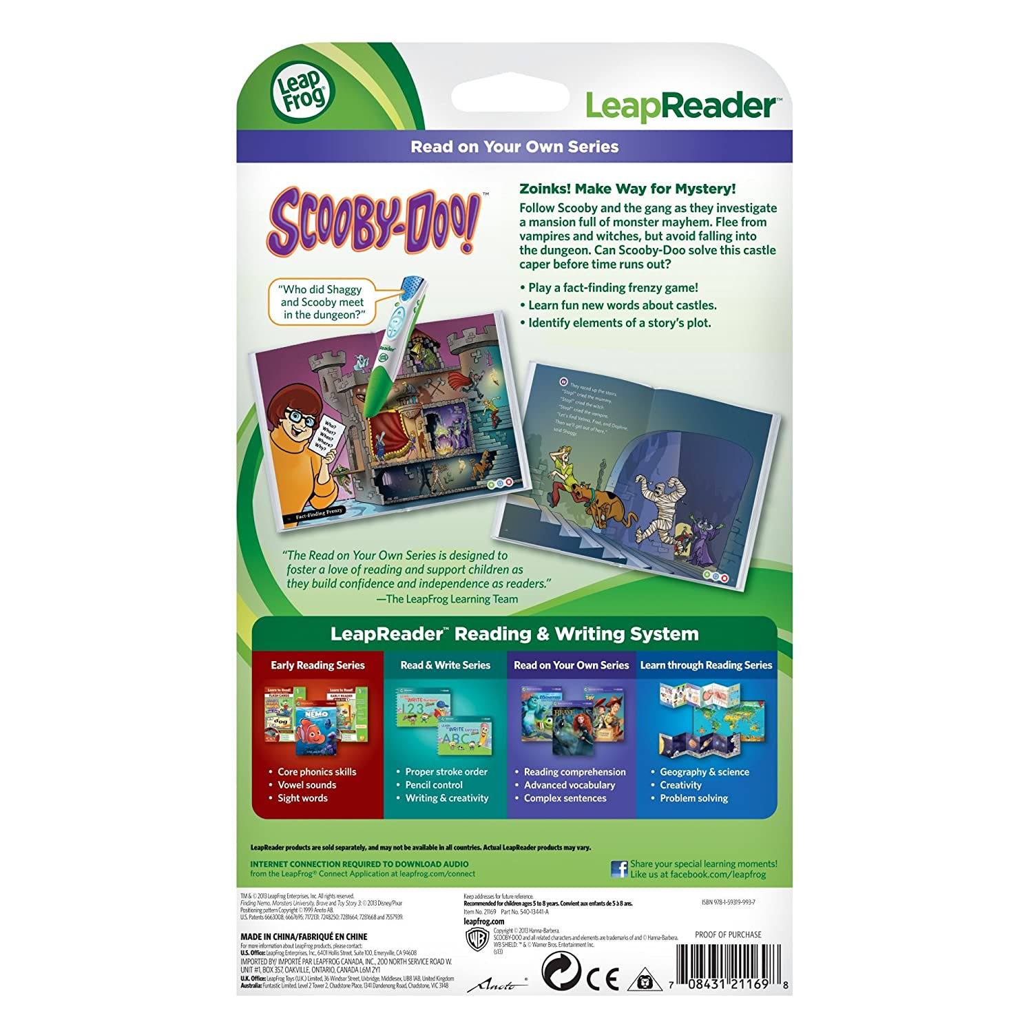 LeapFrog LeapReader Book: Scooby-Doo Shiny Spooky Knights 80-21169E works with Tag