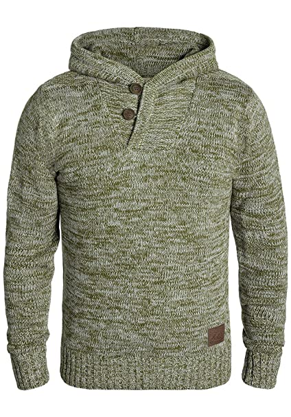 !Solid Praktik Jersey De Punto Suéter Sudadera De Punto Grueso con Capucha para Hombre con Cuello Cruzado De 100% algodón: Amazon.es: Ropa y accesorios