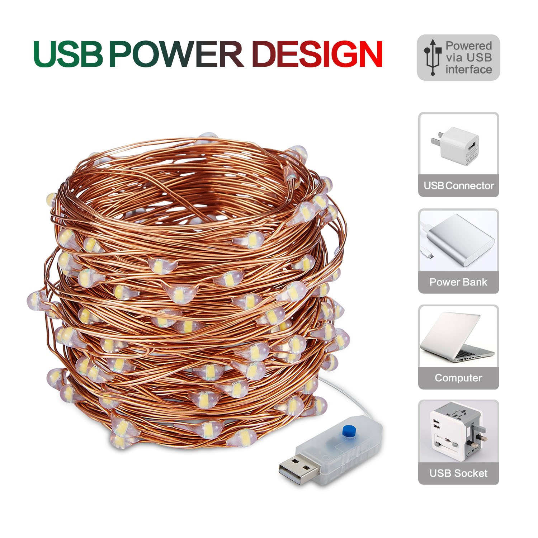 10M 100 LEDs Kupferdraht Lichterkette Wasserdichte USB LED Kupfer ...
