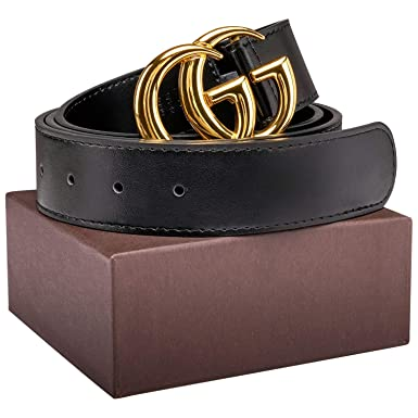 9eabaee2630 Gold Silver Buckle Black Leather Unisex Fashion Belt for Men or Women Pants  Jeans Shorts