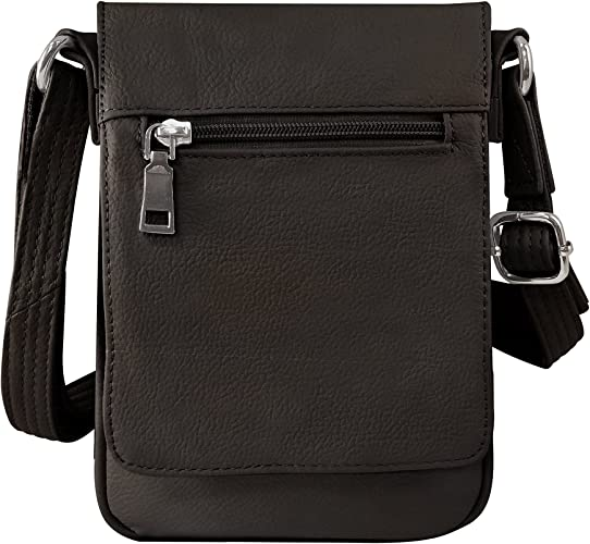 Roma Leathers Compact Concealment Crossbody Bag Wire Reinforcement Strap Lockable Ykk Zippers Clothing