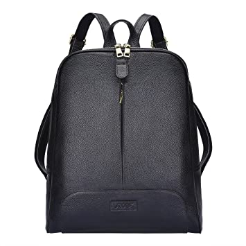 S-ZONE 14 Inch Laptop Women Genuine Leather Backpack Fashion ...