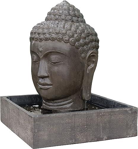 Fuente de piedra fundida con cabeza de Buda / Angkor para casa y jardín / Fuente de interior y exterior: Amazon.es: Hogar