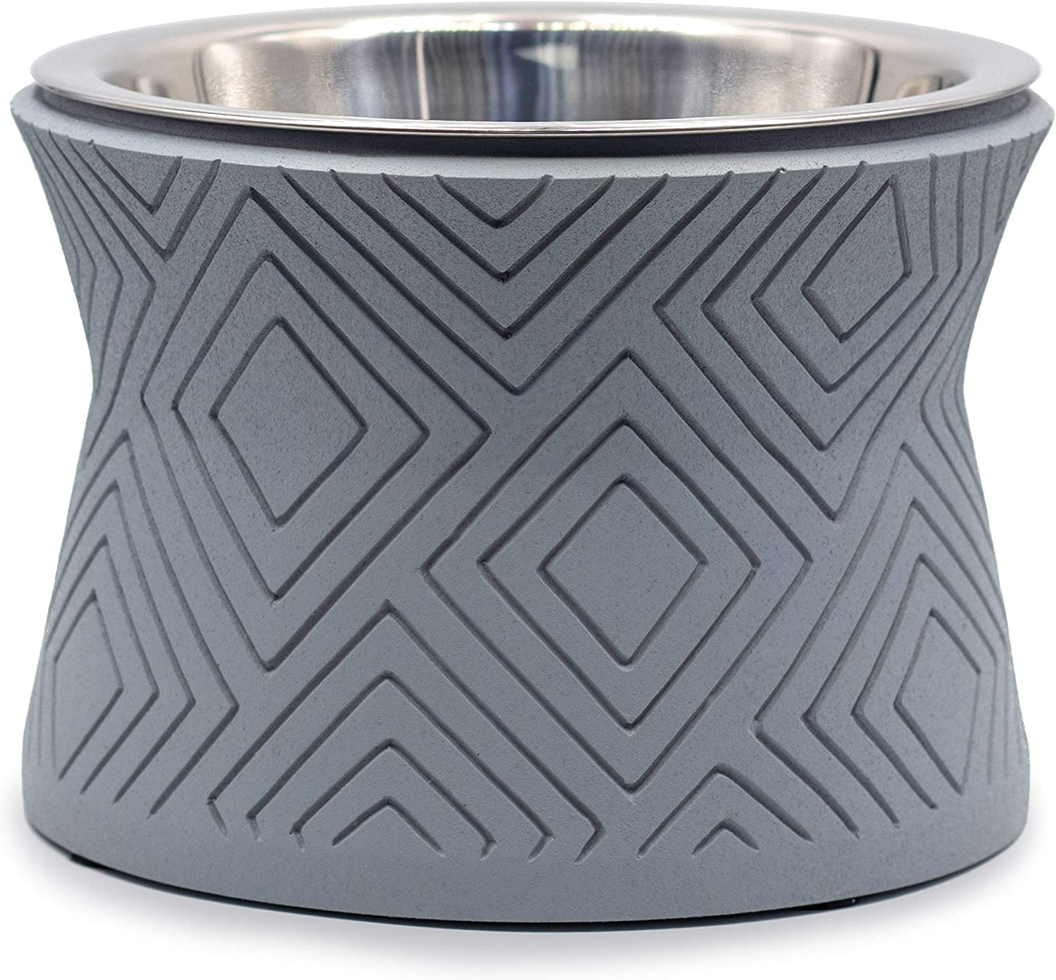 Pet Junkie Santa Fe Elevated Dog Bowl for Food and Water with Stainless Steel Washable Inner Bowl, Gray
