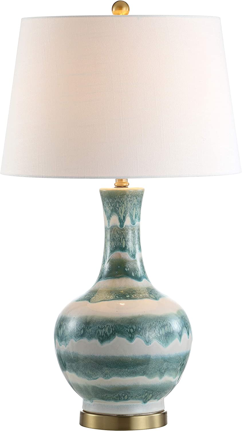 "JONATHAN Y JYL3054A Tucker 30.5"" Striped Ceramic/Metal LED Lamp Contemporary,Transitional for Bedroom, Living Room, Office, College Dorm, Coffee Table, Bookcase, Green"