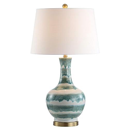 JONATHAN Y JYL3054A Tucker 30.5 Striped Ceramic Metal Table Lamp, Green White