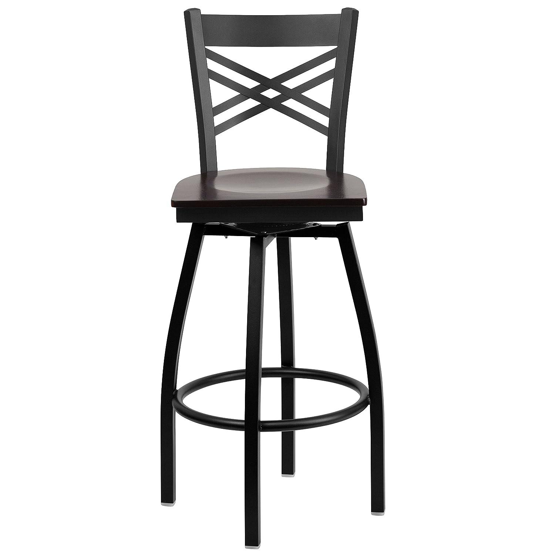 Walnut Wood Seat Luxury Home XU-6F8B-XSWVL-WALW-GG Flash Furniture HERCULES Series Black X Back Swivel Metal Barstool