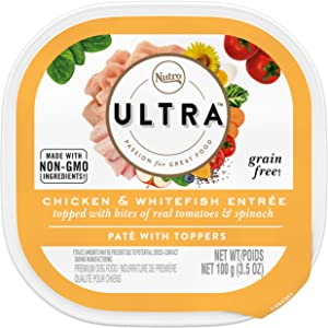 NUTRO ULTRA Adult Grain Free Soft Wet Dog Food, Chicken and Whitefish Entrée Paté with Toppers, (24) 3.5 oz. Trays