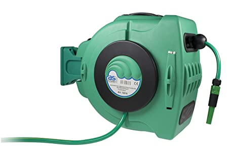 as – Schwabe Automatik-Wasserschlauch-Trommel – mit 20 m PVC-Gewebeschlauch & 2 m Anschlussschlauch – Aufroller mit automatis