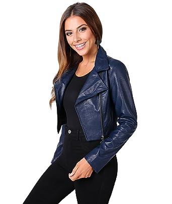 KRISP Womens Soft PU Vegan Faux Leather Cropped Biker Moto Short Jacket Summer Coat at Amazon Womens Coats Shop