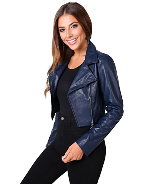 Krisp Womens Soft PU Vegan Faux Leather Cropped Biker Moto Short Jacket Summer Coat