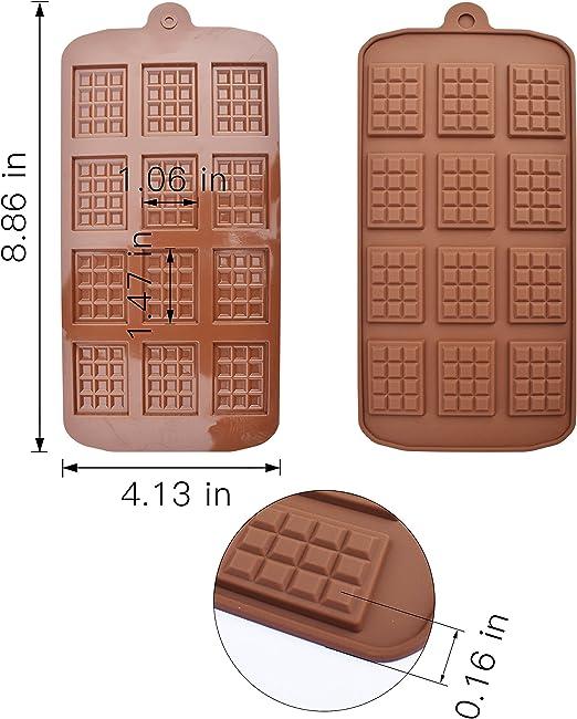 homEdge Chocolate desmenuzado, juego de 4 paquetes de proteína de silicona antiadherente de grado alimenticio y moldes para dulces de barra de energía ...
