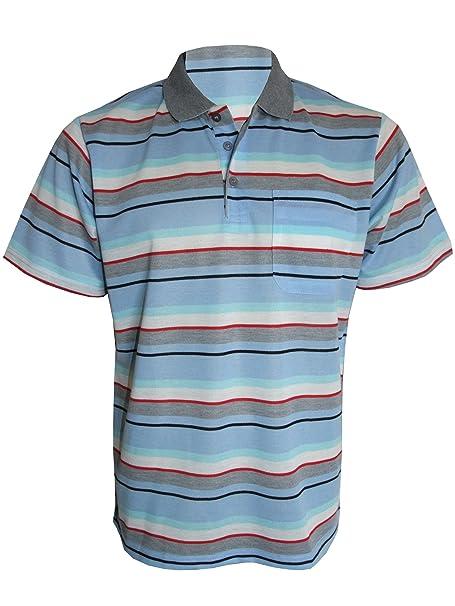 XXL Men Short Sleeve Yarn Dyed Stripe Polo Shirt T shirt Top Casual  M