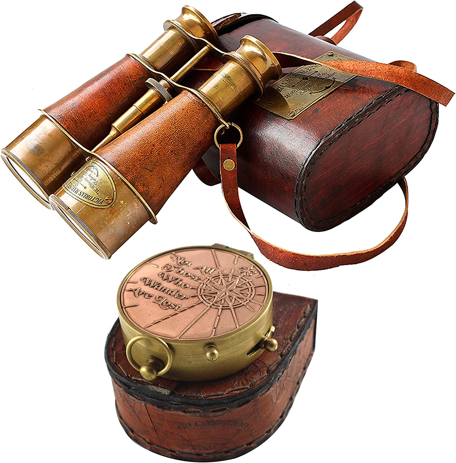 Nautical Victorian Marine Binocular Leather Case with Brass Copper Qoute Compass