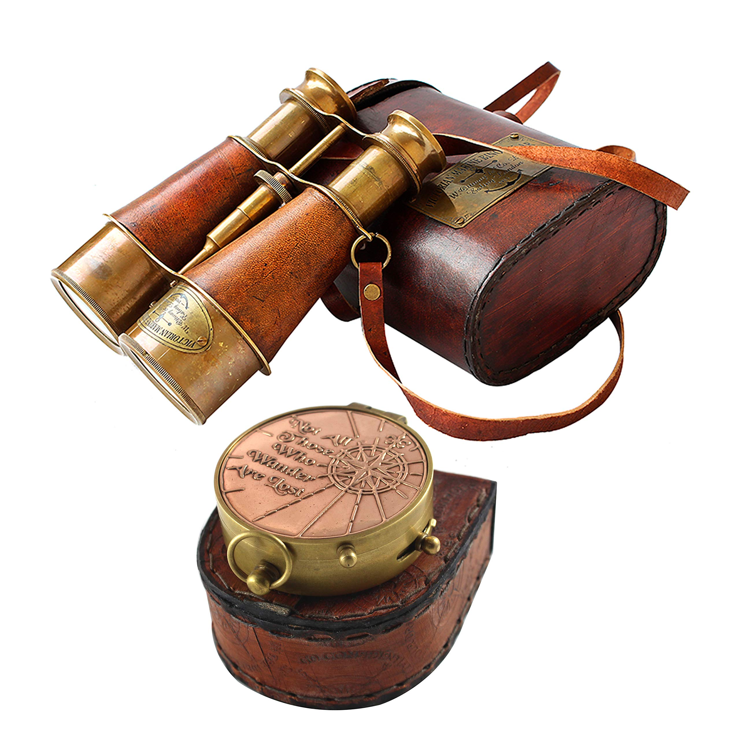 collectiblesBuy Nautical Victorian Marine Binocular Leather Case with Brass Copper Qoute Compass by collectiblesBuy