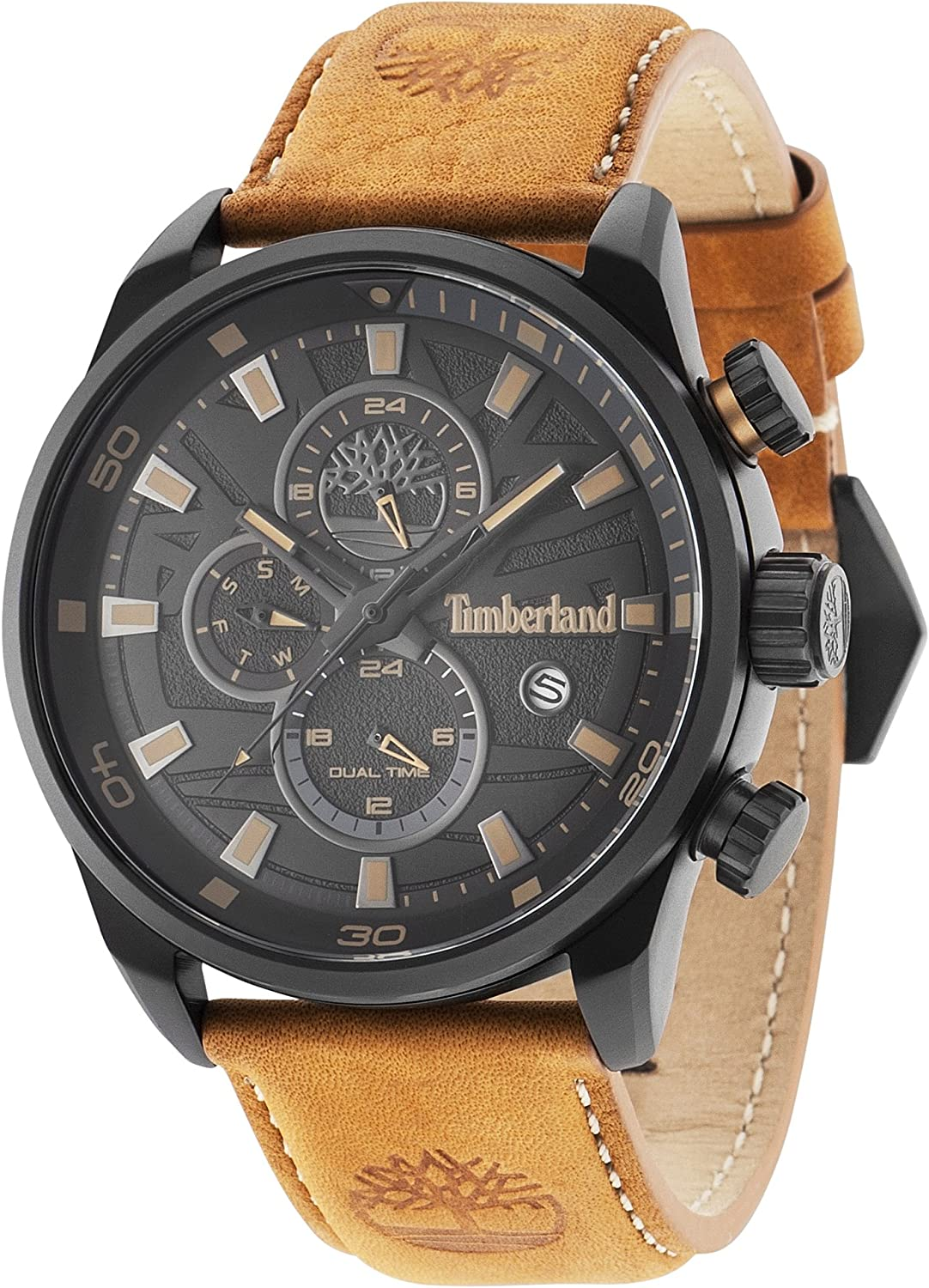 Extra Tectónico sistemático  Timberland Men's Quartz Watch with Black Dial Analogue Display and Dark  Brown Leather Strap 14816JLB/02: Amazon.co.uk: Watches