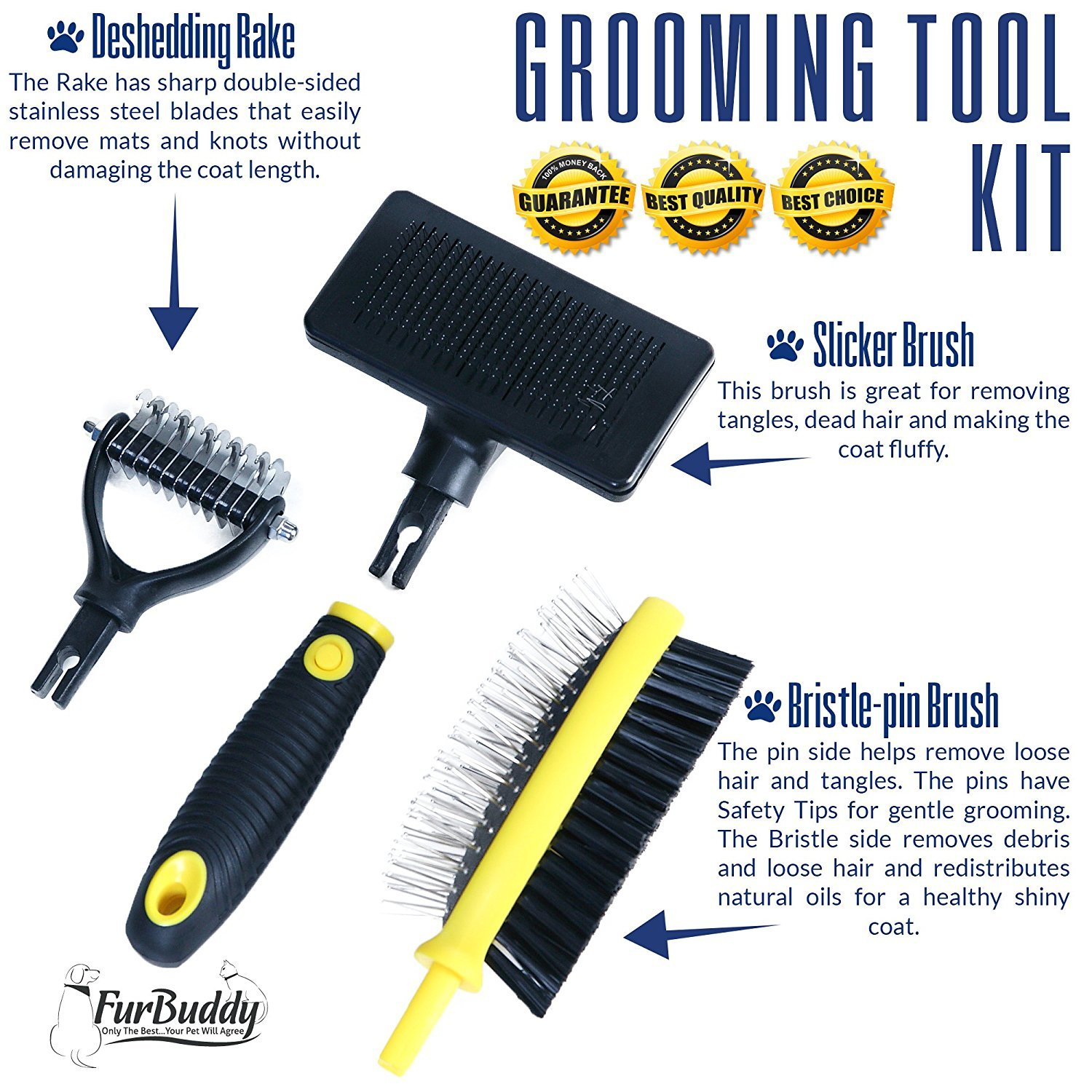 FurBuddy Pet Grooming Brush Kit for Any Type of Dog or Cat All in One Kit Eliminates Mats /& Hairballs