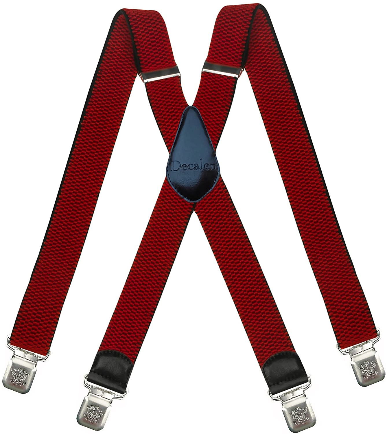 Decalen Mens Suspenders Very Strong Clips Heavy Duty Braces Big and Tall X Style Model 08-X-UK