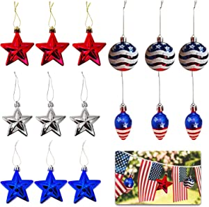TSIN15PCS Independence Day Hanging Ball Red Blue Star Ornaments 4th of July Patriotic Day Ball Star Decorations for Home Festival Party Decor Indoor Outdoor Christmas Tree Decoration for Memorial Day