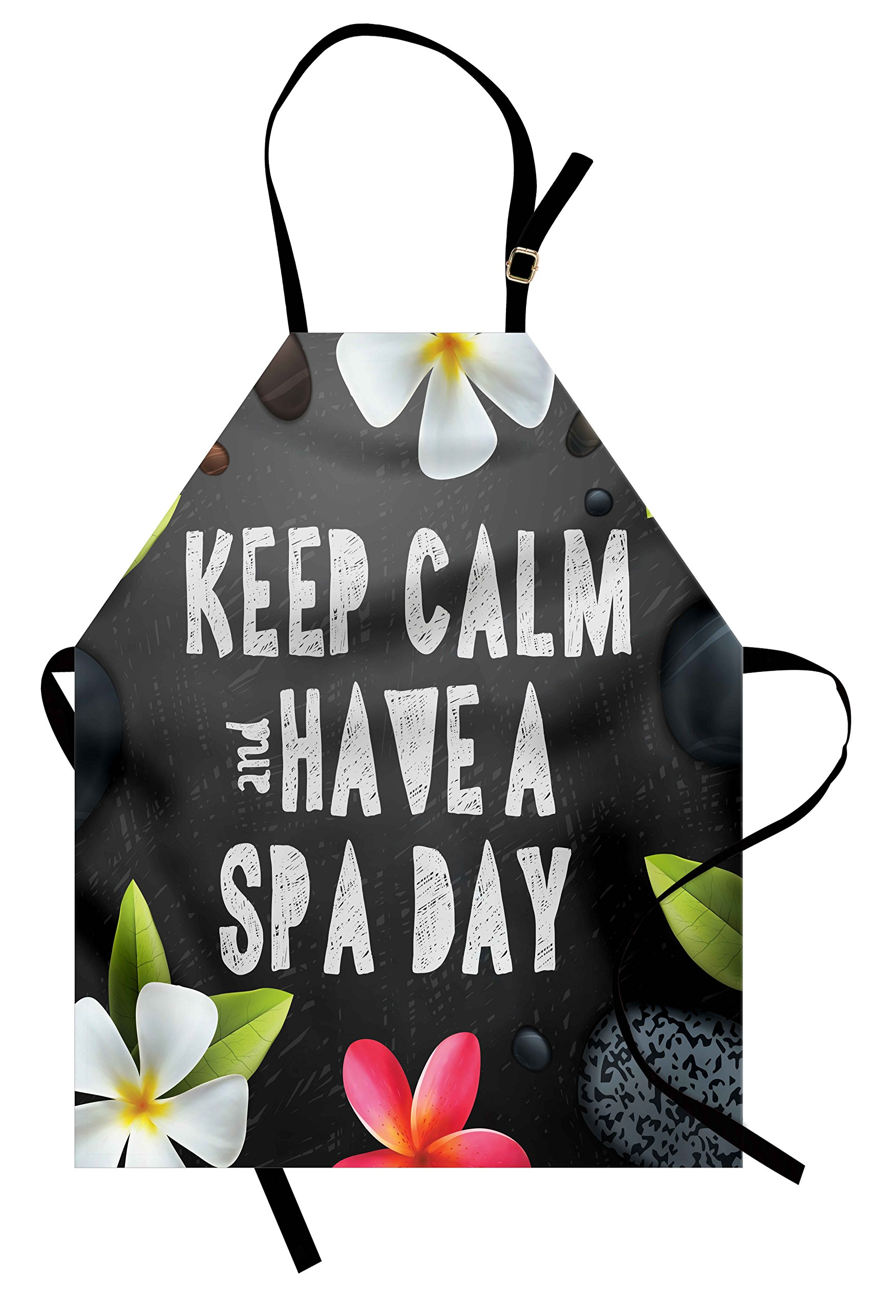 Ambesonne Zen Apron, Keep Calm Have a Spa Day Quote Healthcare and Beauty Treatment Graphic Stones Flowers, Unisex Kitchen Bib Apron with Adjustable Neck for Cooking Baking Gardening, Multicolor