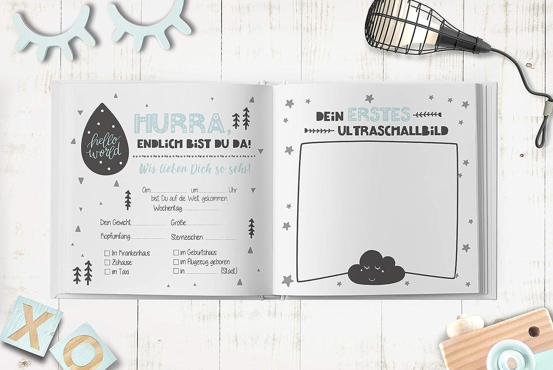 Babybuch Mama Erstes Tagebuch Schwangerschaft und 1 Jahre Memorien zum Ausf/üllen f/ür M/ädchen und Jungen Babyalbum Scandilover mint